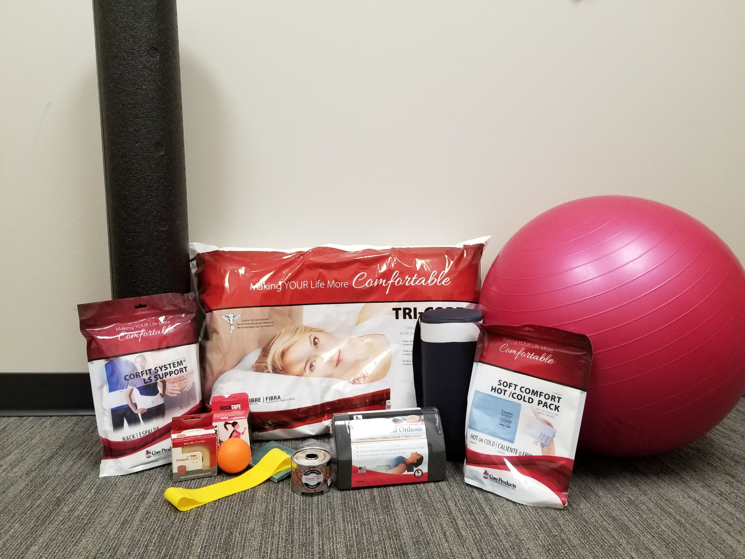 Venture has available lower back braces, pillows, hot/cold packs, exercise bands, McKenzie Rolls and taping supplies to help your posture and improve your movement.